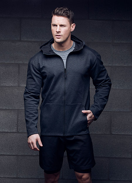 attached hood • bonded seams at cuff and hem  •  center front technical zipper • curved shoulder panels • long sleeves with bonded flat hem • 2 patch pockets • extended sport hem • imported