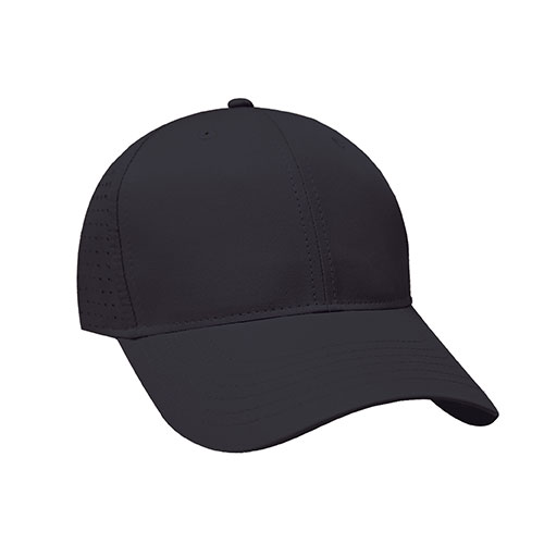 6 section cap · structured front · 2 eyelets · 2 panel pro-stitch · pre-curved peak · matching adjustable back strap · tab hook & loop closure · imported