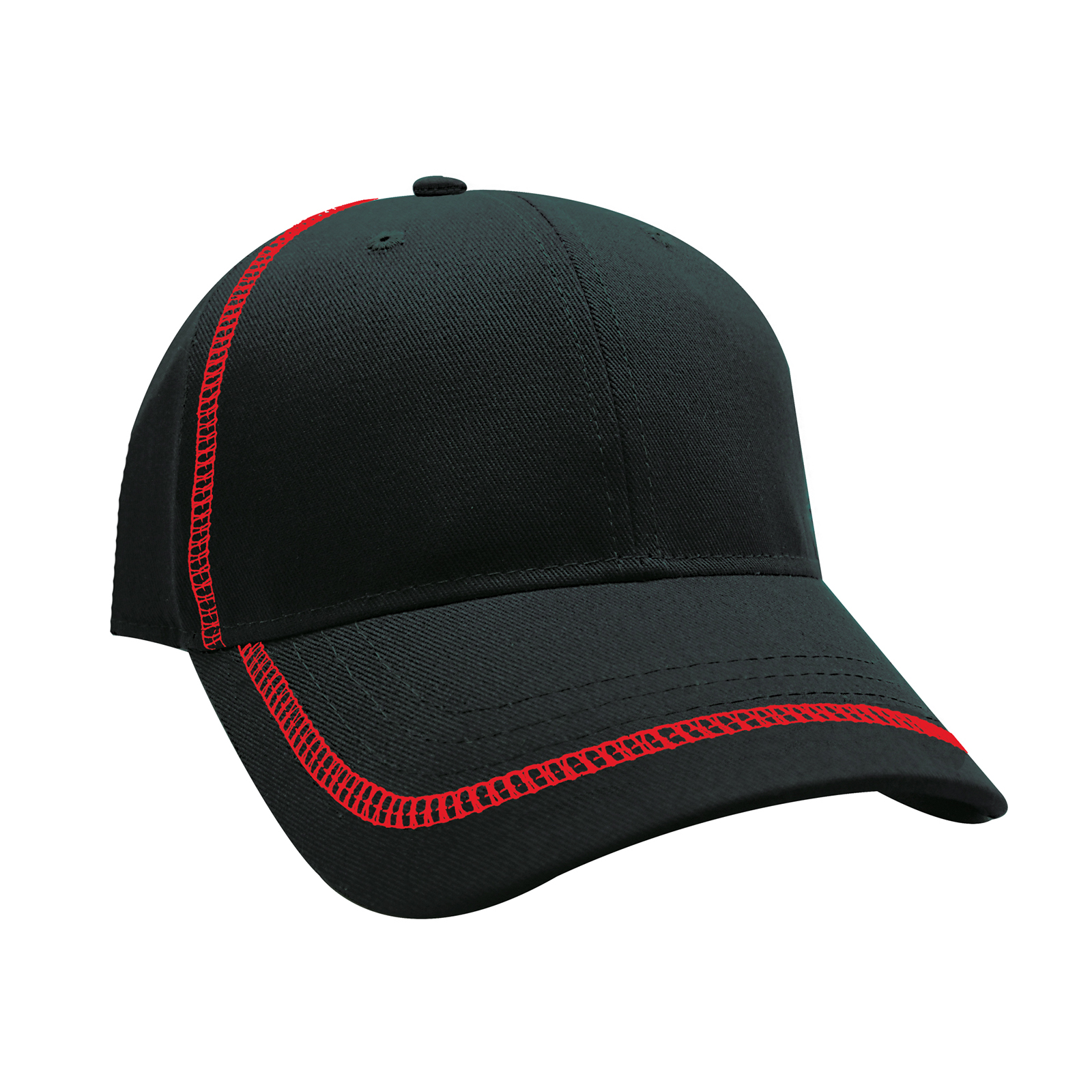 7333ffd420ac1c Structured Premium Cotton Twill Cap With Contrasting Color Stitching On  Crown And Peak