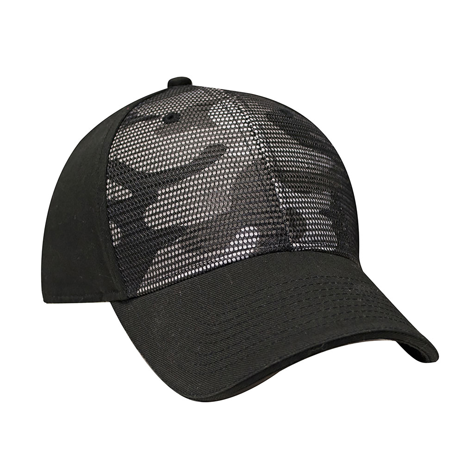 c7e554b0594 Structured Camo Front Cap with Matching Mesh Overlay